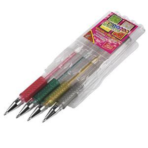 Długopisy żelowe Easy z brokatem x4