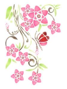 Szablon wielokrotnego użytku A4 - kwiaty i motyle