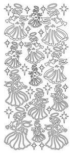 Sticker srebrny 04600 - aniołki x1