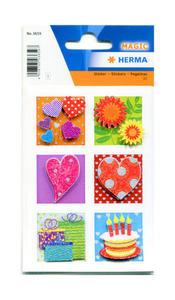 Naklejki HERMA Magic 3659 znaczki pocztowe 3D x1
