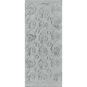 Sticker srebrny 07106 - pisanki x1 - 2846498290