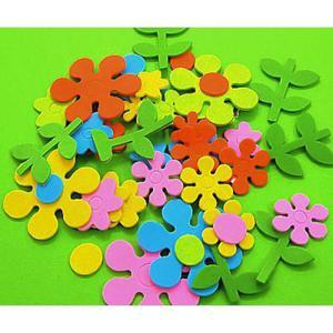 Naklejki z pianki - kolorowe kwiatki mix kolorów - 2881600446