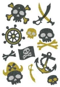 Naklejki HERMA Magic 3278 czaszki piratów brokat