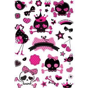 Naklejki HERMA Magic 3683 różowo-czarne czaszki