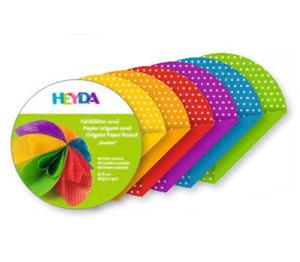 Papier do origami średnica 10cm Heyda kropki x100