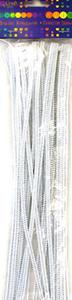 Druciki kreatywne chenille 30cm białe x25