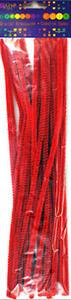 Druciki kreatywne chenille 30cm czerwone x25