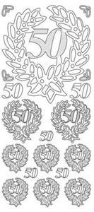 Sticker srebrny 01087 - 50 lat x1