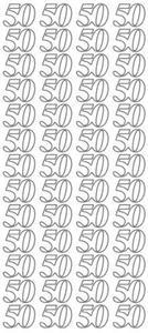 """Sticker srebrny 23000 - """"50"""" x1 - 2824964064"""