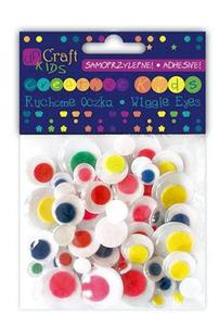 Oczka ruchome mix kolorowe samoprzylepne 75e x1