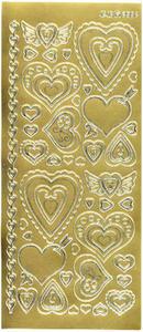 Sticker złoty 02862 - serca ozdobne x1