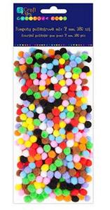 Pompony 7mm mix. kolorów x380