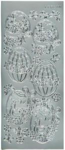 Sticker srebrny 02099 - 6 pisanek x1 - 2824965218