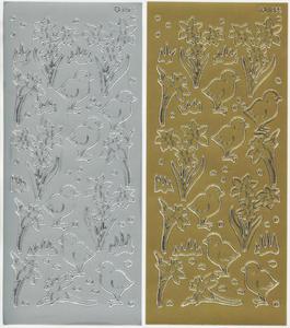 Sticker srebrny 01823 - kurczaki z żonkilami x1