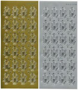 Sticker srebrny 03348 - kielichy ze zbożem x1