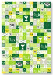 Karton A4 200g Heyda Komunia Patchwork zielony x1