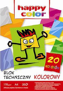 Blok techniczny A4 Happy Color 170g kolor 20k x1 - 2824966473