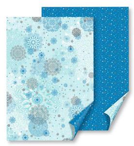Karton B2 300g Heyda Śnieżynki niebieskie x1 - 2824966549