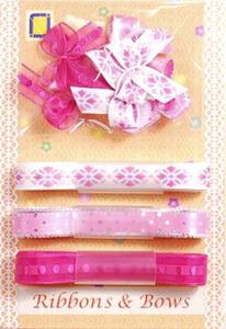 Kokardki i wstążeczki JeJe - różowe 9e x1