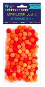 Pompony 1cm mix pomarańczowy x120