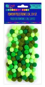 Pompony 1cm mix zielony x120