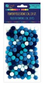 Pompony 1cm mix niebieski x120