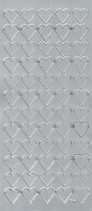 Sticker srebrny 02110 - serca x1 - 2824959703