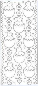 Sticker srebrny 01821 - kurczaki w jajku x1 - 2824969991