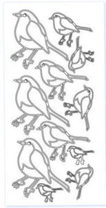 Sticker srebrny 02404 - ptaszki x1