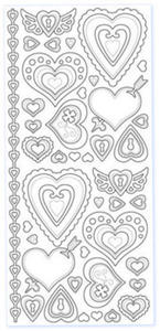 Sticker srebrny 02862 - serca ozdobne x1