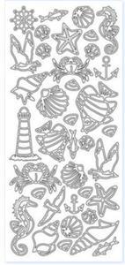 Sticker srebrny 10865 - zwierzęta morskie x1