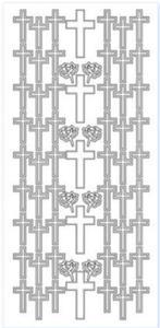 Sticker srebrny 10875 - krzyże x1