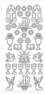 Sticker srebrny 11200 - Komunia kwiatki (R56) x1