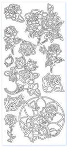 Sticker srebrny 12370 - róże x1