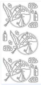 Sticker srebrny 12650 - bociany x1