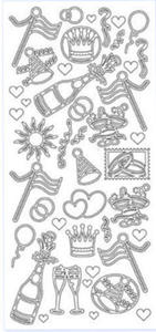 Sticker srebrny 13100 - party x1