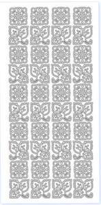 Sticker srebrny 13770 - listki i kwiatki x1