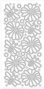Sticker srebrny 14130 - kwiaty, pszczółki x1