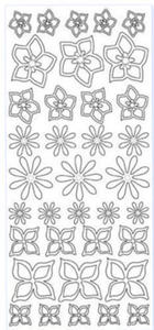 Sticker złoty 01781 - kwiatki x1