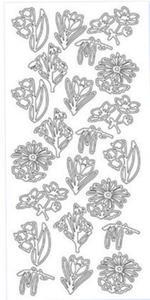 Sticker srebrny 01868 - wiosenne kwiaty x1