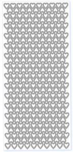 Sticker srebrny 20930 - małe serduszka x1