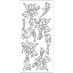 Sticker srebrny 02104 - tulipany x1