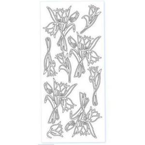 Sticker srebrny 02096 - smoczki x1