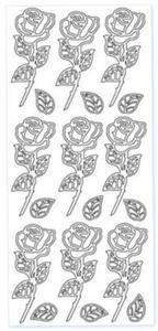 Sticker srebrny 03117 - róże x1 - 2824970115