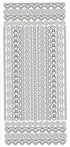 Sticker srebrny 03250 - szlaczki z serduszek x1 - 2824970123