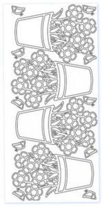 Sticker srebrny 03637 - kwiaty w doniczce x1