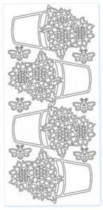 Sticker srebrny 03652 - słoneczniki x1 - 2824970129