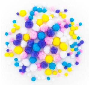 Pompony poliestrowe mix pastel 140e x1