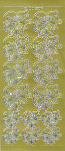 Sticker złoty 06307 - serce z różą x1 - 2846498229