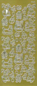 Sticker złoty 03740 - motywy wielkanocne x1